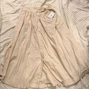 Free People Pale Pink Peasant Skirt with Loop Belt